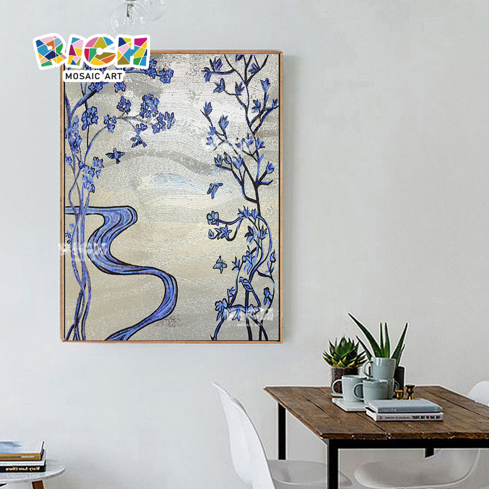 RM-FL61 Blauwe bloem zilver Backsplash Office mozaïek kunst