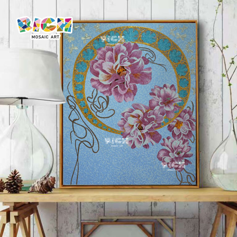 RM-FL62 Creative Flower Mural Pattern Ice Jade Mosaic Art
