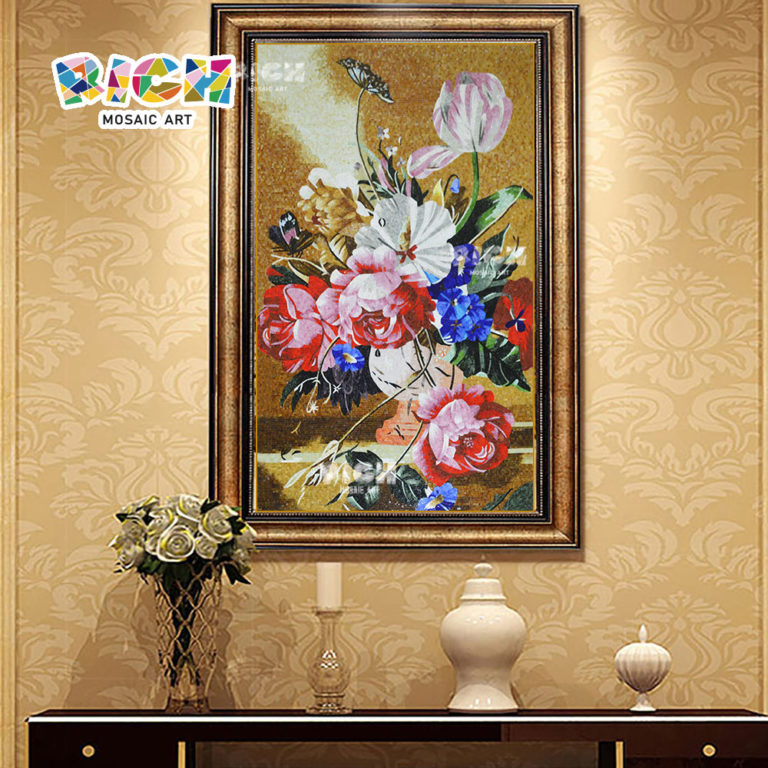 RM-FL63 Flower Pattern Mosaic Customized Made Artwork Mural