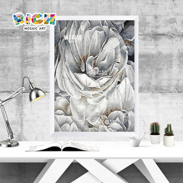 RM-FL65 Grey Flower Glass Art Mosaic Panel Mural