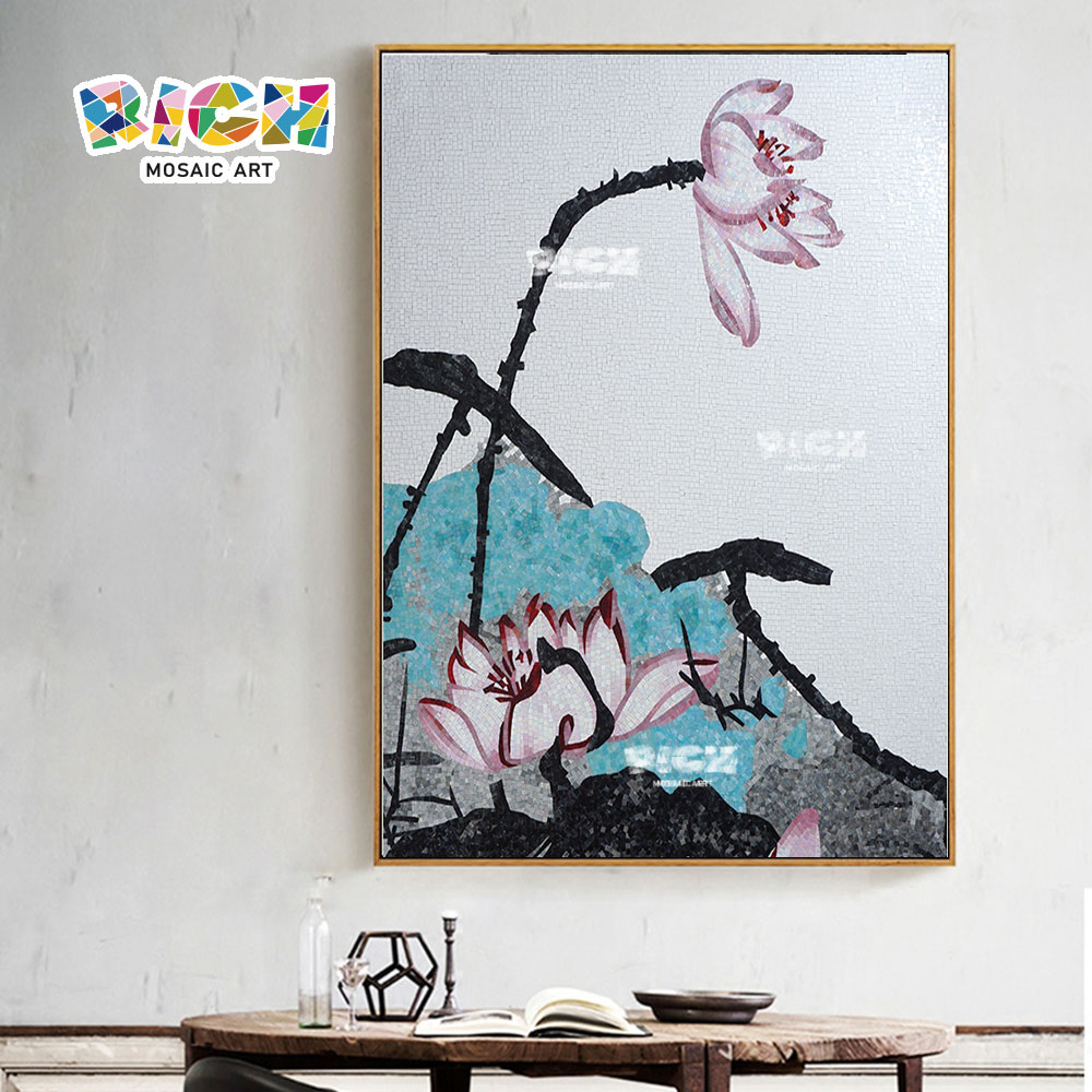 RM-FL67 Lotus Design Wand Mosaik Kunstglas hängen