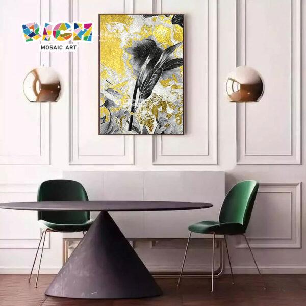 جمهورية مقدونيا-FL68 عشاء غرفة النقش الذهبي زهرة زجاج الفسيفساء
