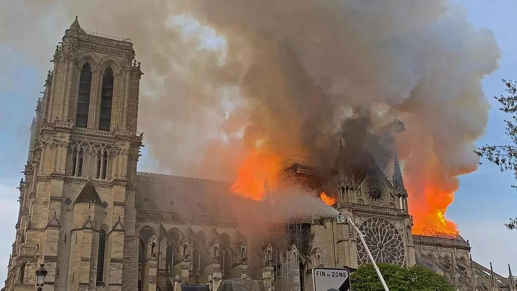 The burning of Notre Dame cathedral in Paris