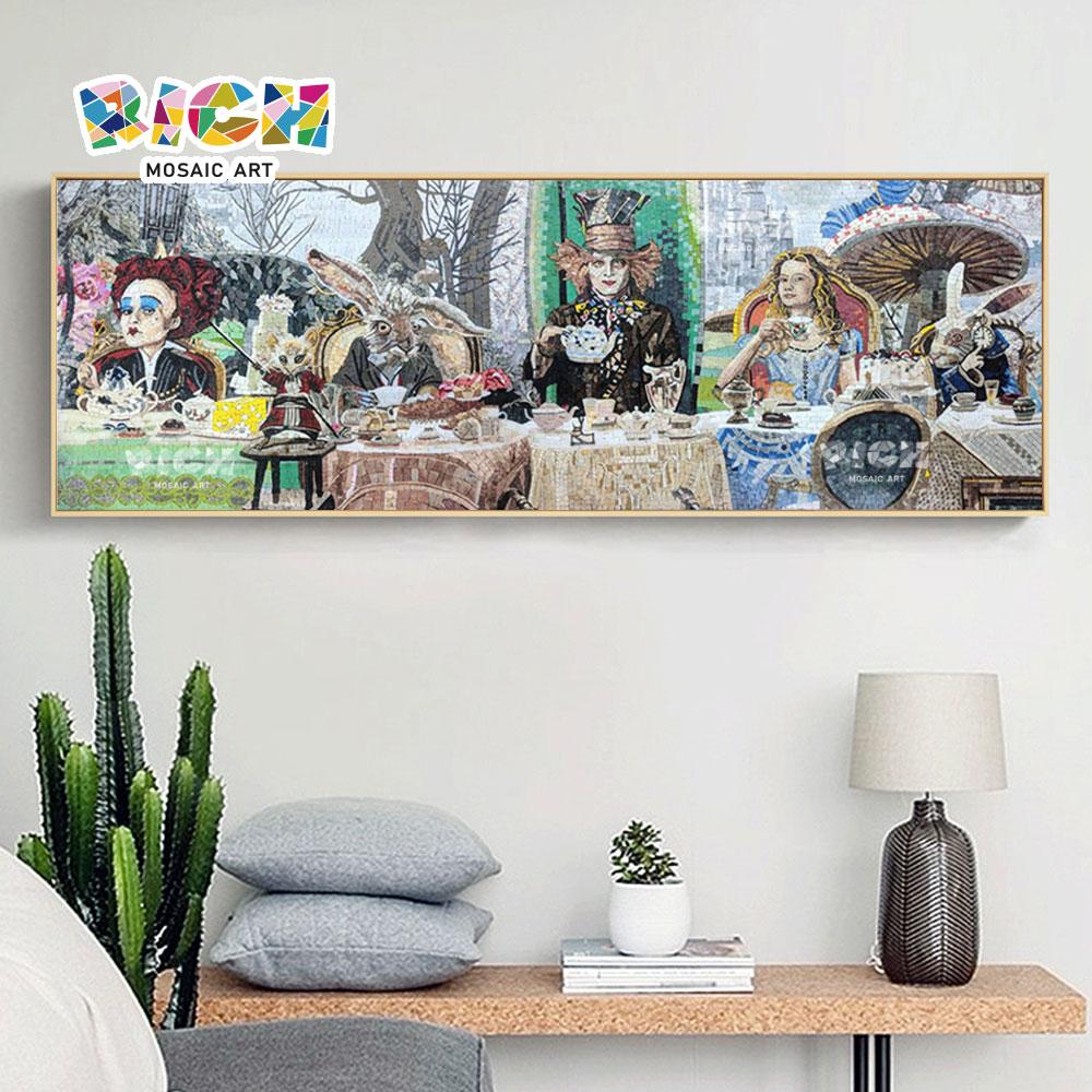 RM AE05 อลิซในจิตรกรรมฝาผนังแขวนผนังห้องนอนเด็กศิลปะโมเสกวันเดอร์แลนด์