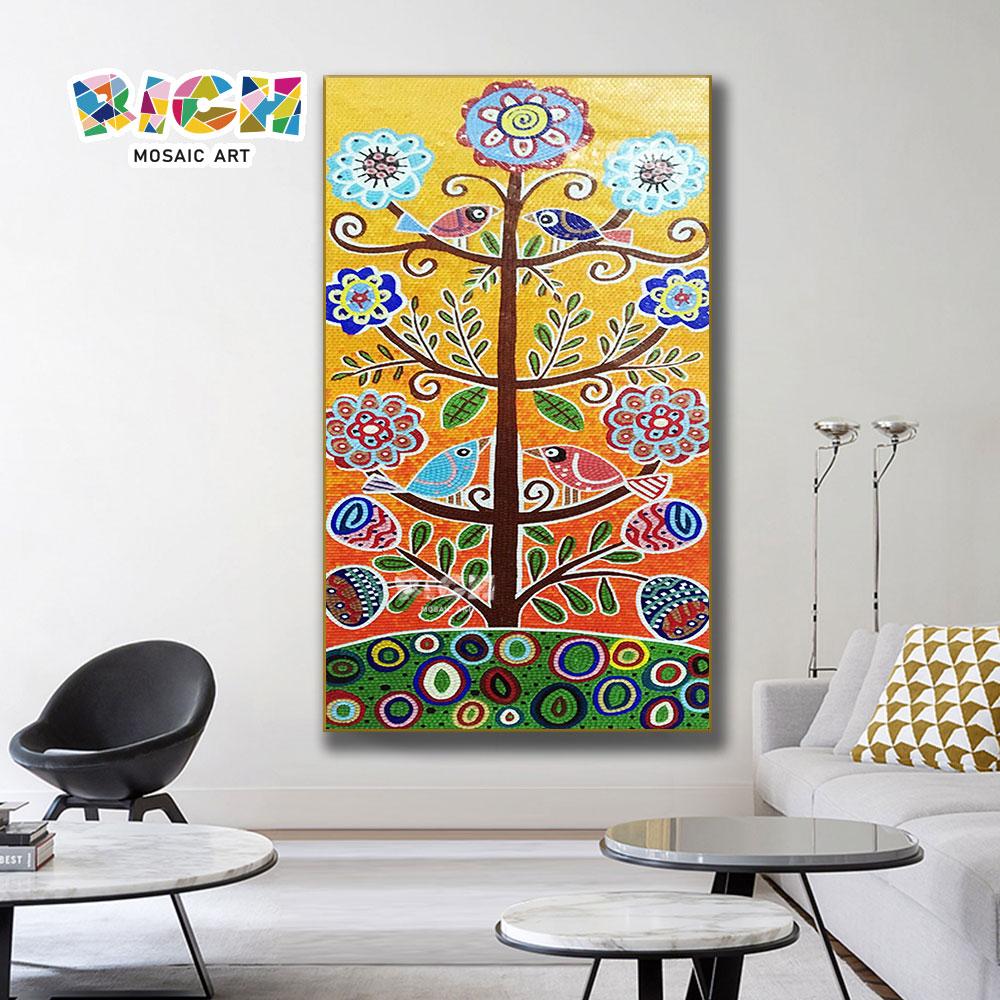 ออกแบบต้นไม้การ์ตูน RM AE09 100% โมเสคฝาผนังทำด้วยมือ