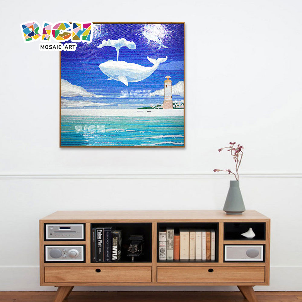 RM-AE10 Fantasy Flying Sea Whale Home Decoration Wall Mosaic