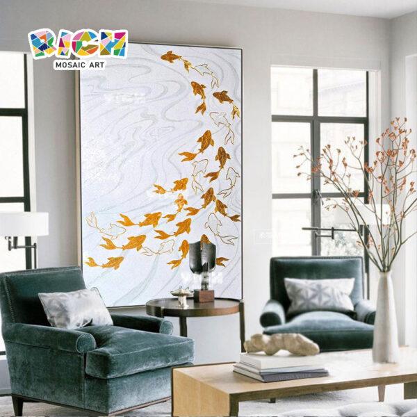 RM-AN01 Gold Fish Mosaic Wall Backsplash Mural
