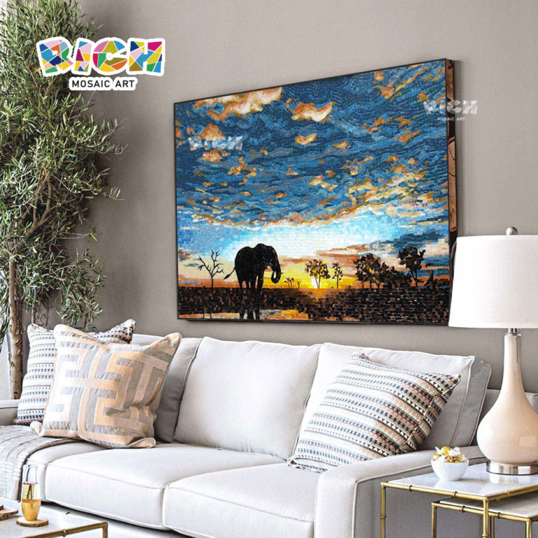 RM-AN03 African Elephant Mural Grassland Scenery Handcut Glass Art