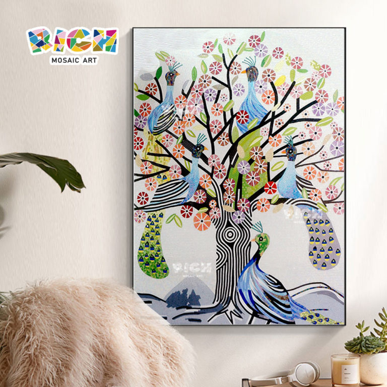 RM-AN04 Handmade Beautiful Peacock Paintings In Mosaic Pattern Pictures