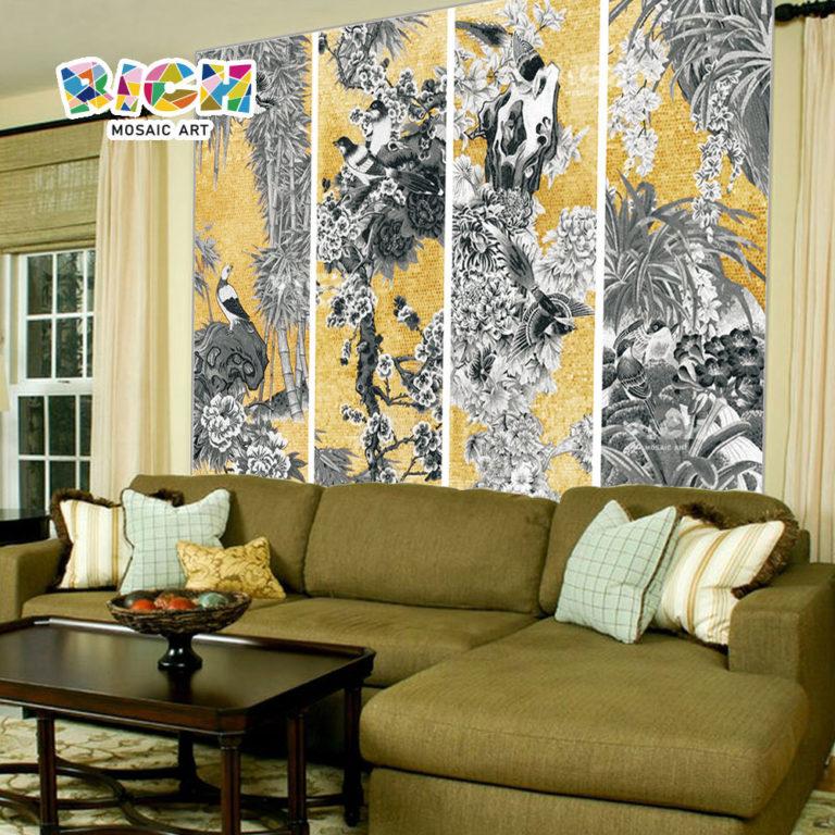 RM-AN05 Chinese Style Gold Backsplash Bird pattern Sofa Mosaic