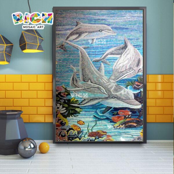 RM-AN06 dauphins conçoivent mosaïque murale pour décorer une salle de bains