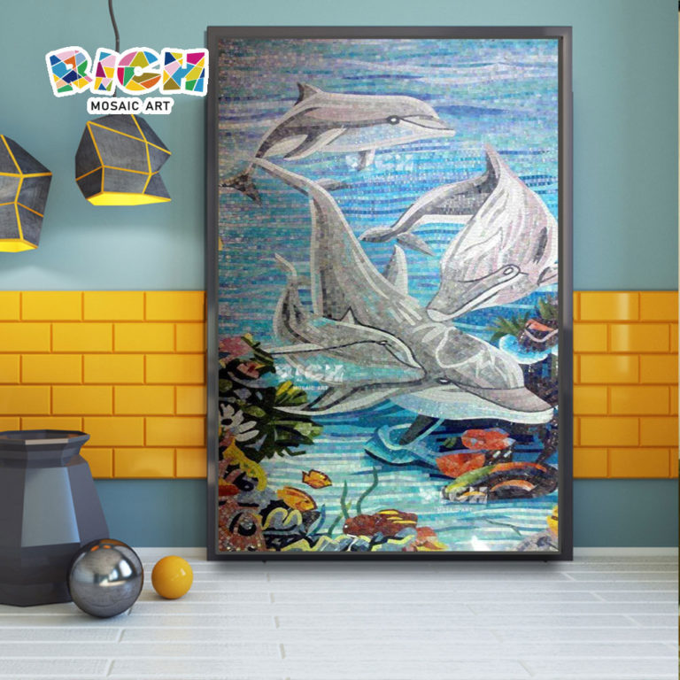 RM-AN06 Dolphins Design Mosaic Mural For Bathroom Decorate