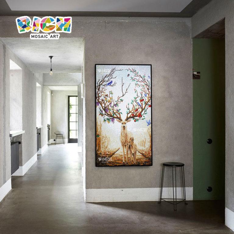 RM AN08 กวางออกแบบแขวนผนังโมเสกภาพจิตรกรรมฝาผนังภาพ