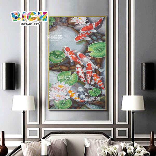 RM AN09 ญี่ปุ่น Koi คริสตัลโมเสกศิลปะลายบ้าน