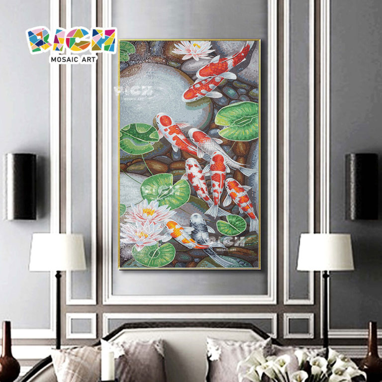 RM-AN09 Japanese Koi Crystal Mosaic Art Pattern For Home