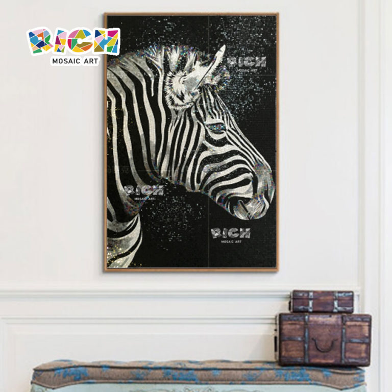 RM-AN10 Zebra Design Wall Background Glass Mosaic Pattern