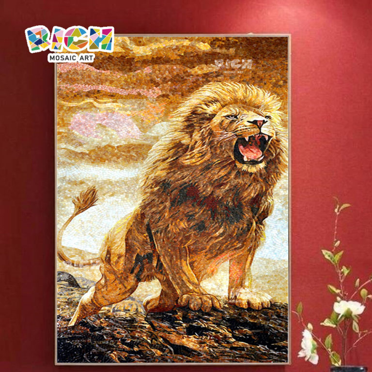 RM-AN12 Lion Pattern Design mosaïque Art dosseret Tile