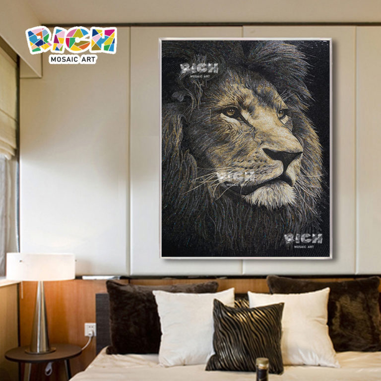 RM-AN14 Lion Face Mosaic Design Glass Hand Cutting Mural