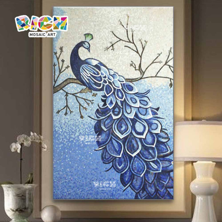RM-AN15 Blue Peacock Glass Art Mosaic For Bedroom Hanging Mural