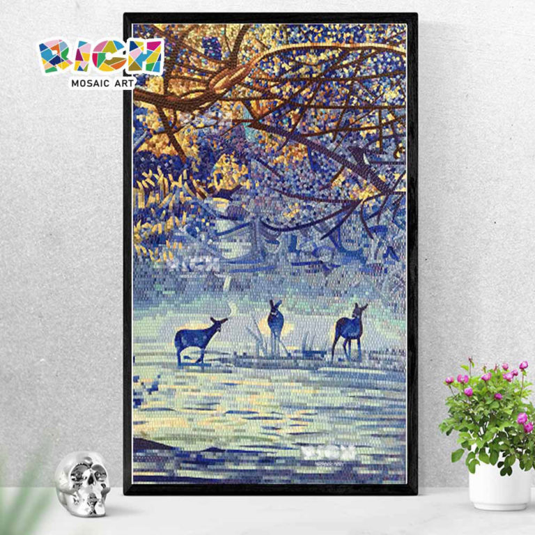 RM-AN16 Three Deer Forest Scenery Handcut Glass Tile