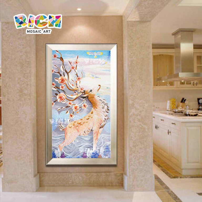 RM-AN17 cozinha parede mosaico arte veado Design agradável parede Mural