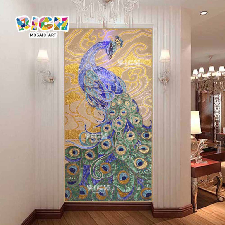 RM-AN19 Luxurious Mosaic Decoration Background Wall Peacock Design
