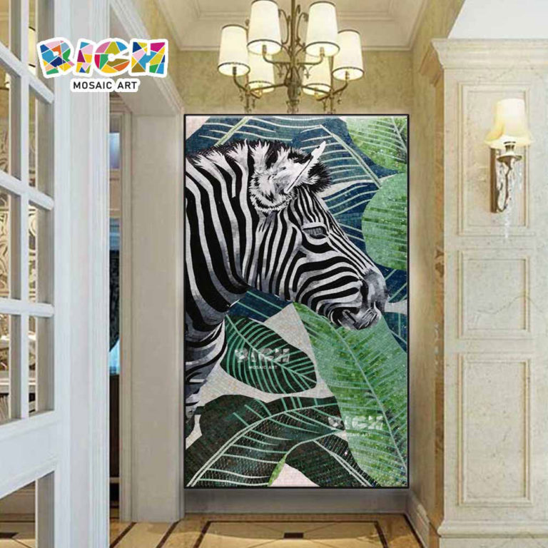 RM-AN21 Zebra With Banana Tree Wall Tile Corridor Decorate