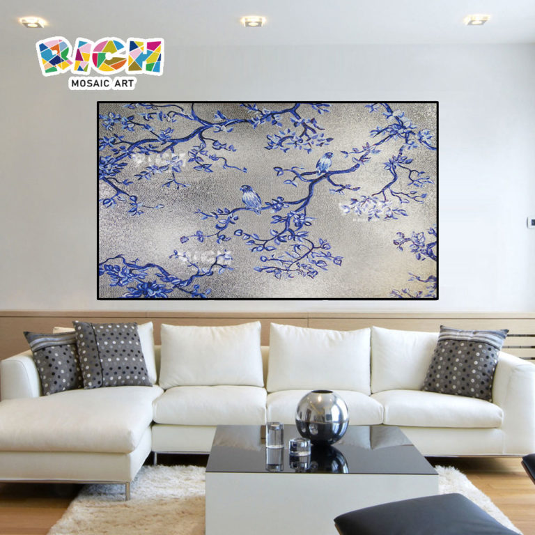 RM-AN23 Blue Bird Silver Background Glass Mural For House
