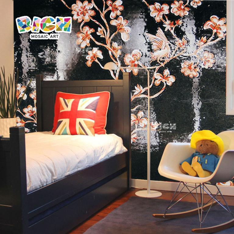 جمهورية مقدونيا-AN24 غرفة نوم زهرة الوردي الطيور نقش الجدار الزجاجي