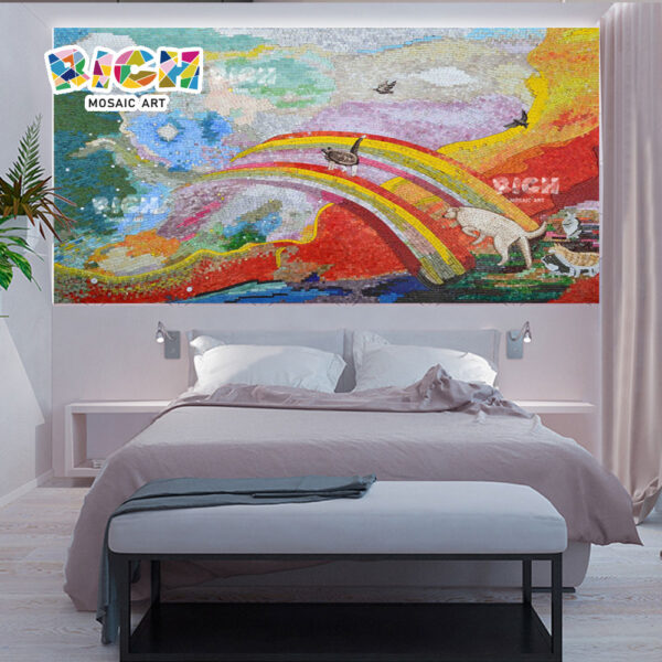 RM-AN26 Animales cruzan el arco iris al cielo mosaico arte para el dormitorio