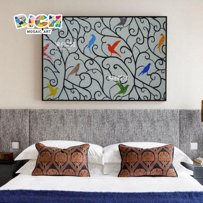 جمهورية مقدونيا-AN31 لون الطيور نمط الجدار غرفة نوم فن الفسيفساء الجدارية