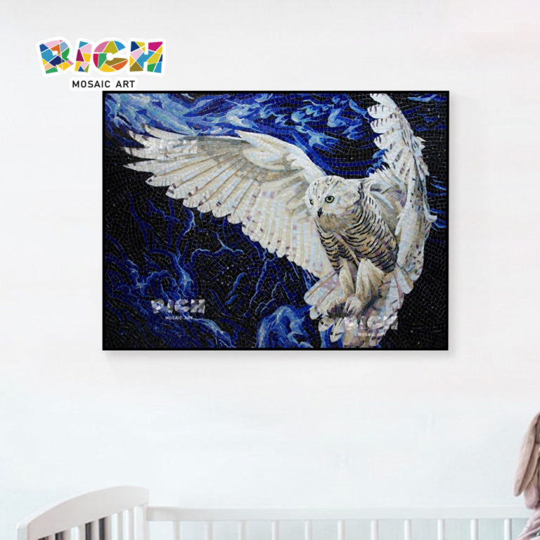 RM-AN32 White Owl Glass Mural Tile For Child Bedroom Wall Hanging