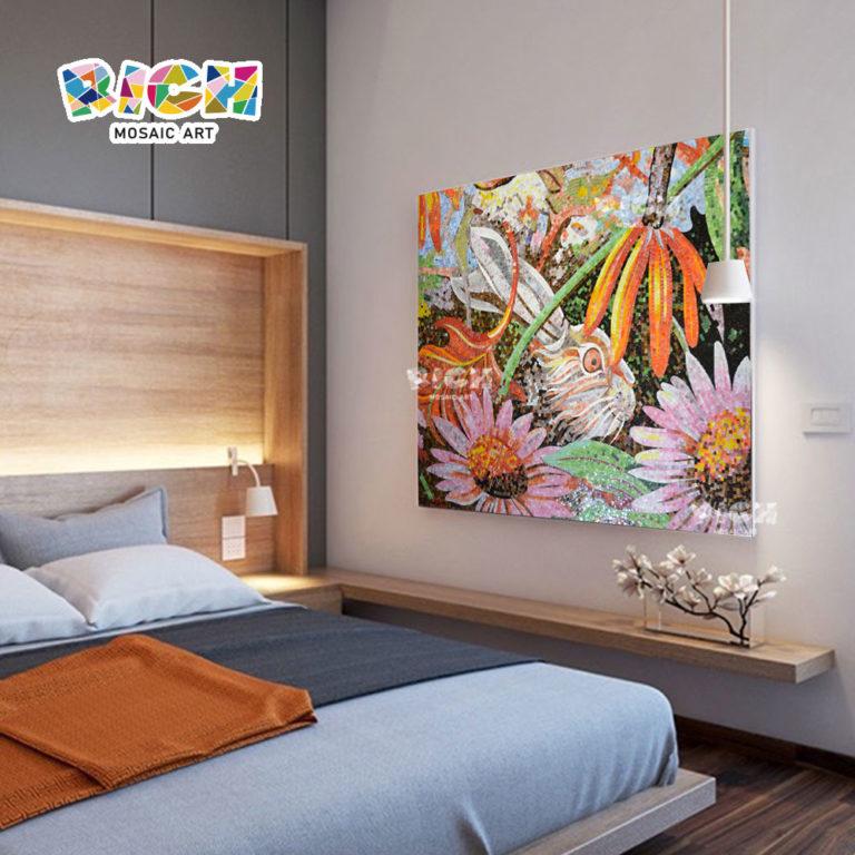 RM-AN34 Rabbit Pattern Bedroom Wall Backsplash Mural Customized Glass Art