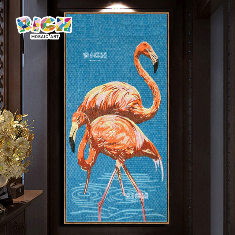 RM-AN37 Flamingos Mosaic Art Backsplash Handcut Glass Mural