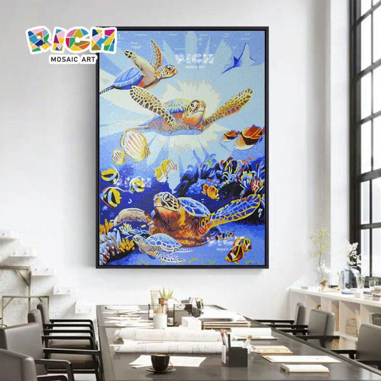 RM AN39 เต่าทะเลคริสตัลโมเสกจิตรกรรมฝาผนังสำหรับห้องศิลปะบนผนัง