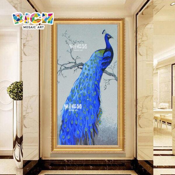 RM-AN40 Blue Beautiful Peacock Backsplash Mosaic Mural