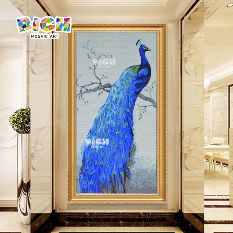 RM-AN40 Blue Beautiful Peacock Backsplash Mosaic Mural