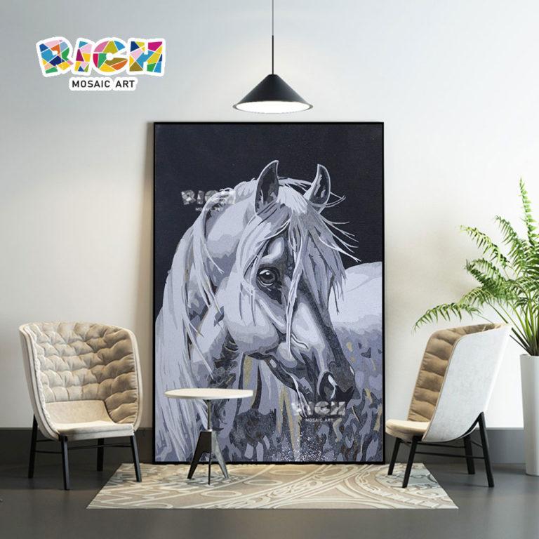 RM-AN41 White Horse Modern Mosaic Mural For Interior Fitment