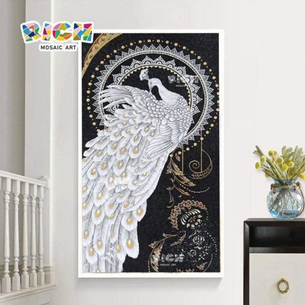 RM-AN43 Elegant Peacock Mosaic Art Good Quality Handcrafted Artwork Tile