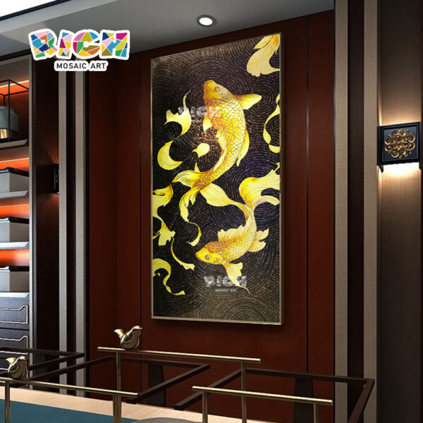 RM-AN44 Golden Fish Mural Mosaic For Office Decoration