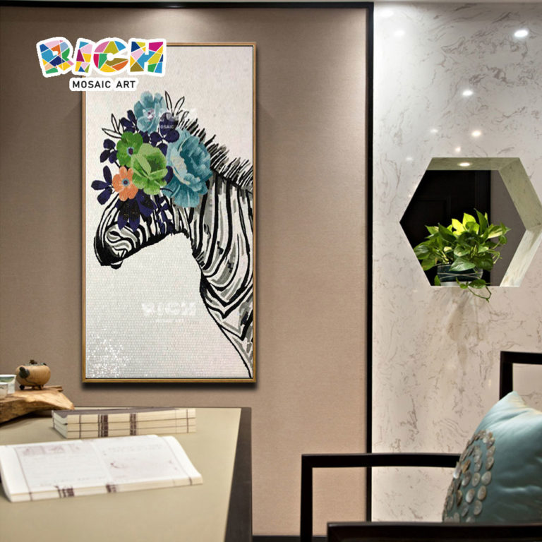 RM-AN45 Creative Zebra Home Decoration Mosaic Artwork Hanging Picture