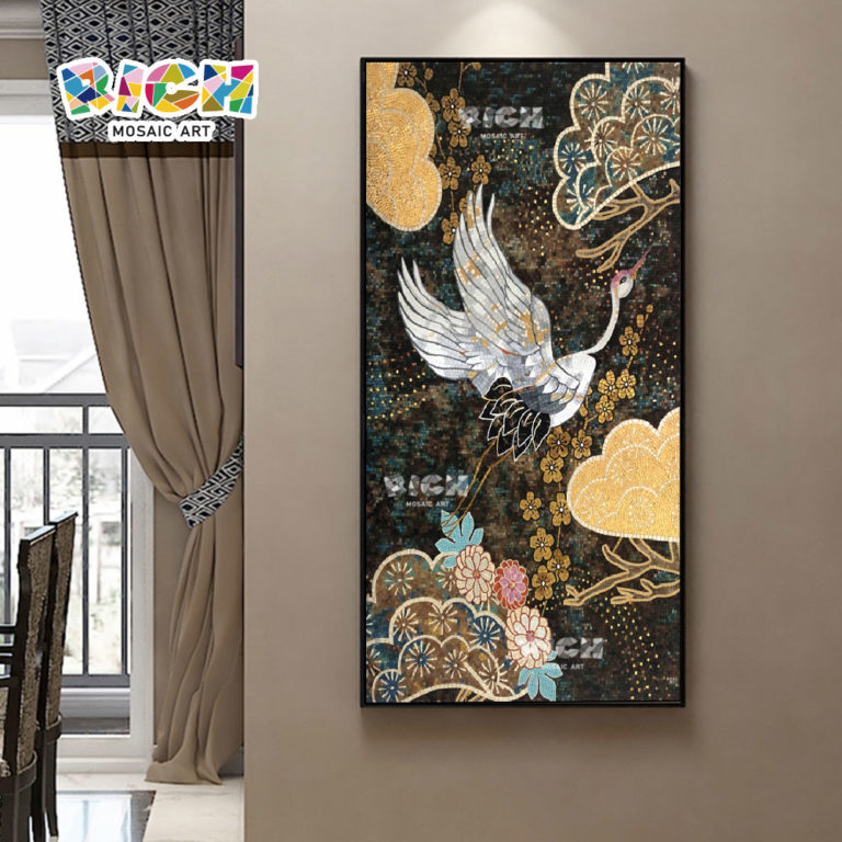 RM-AN46 High Artistic Appreciation Value Of Crane Mosaic Hand-cut Painting Mural