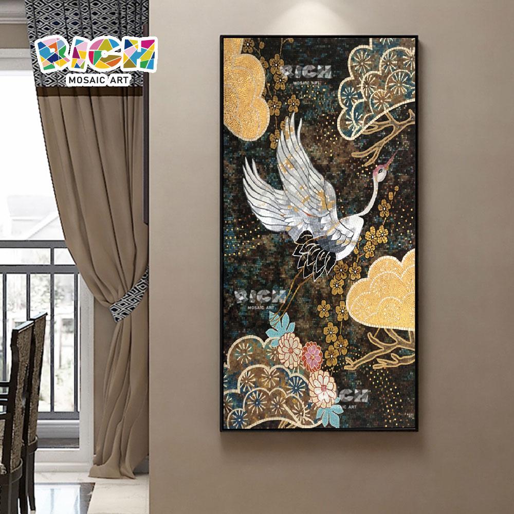 RM-AN46 hohe künstlerische Anerkennung Wert der Kran Mosaik handgeschliffene Malerei Wandbild
