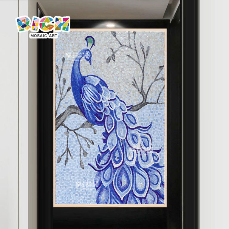 RM-AN49 Blue Peacock Design Backsplash Hanging Glass Mosaic Murals