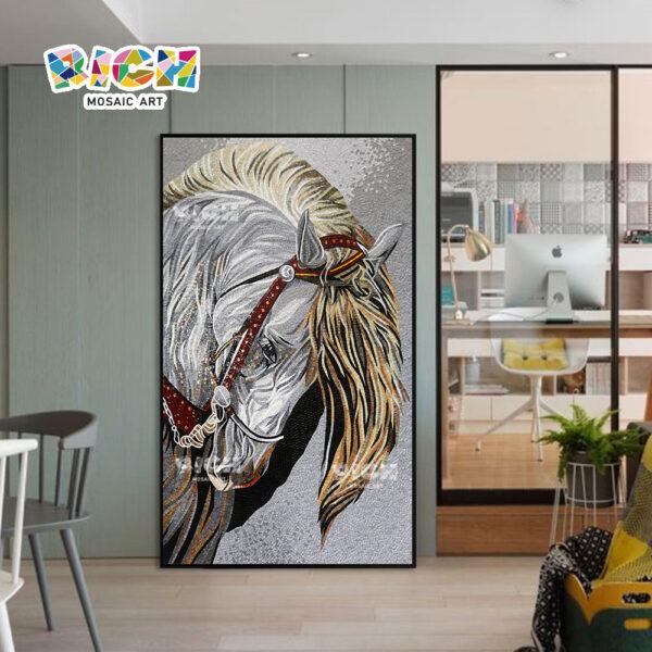 RM-AN50 guerra cavalo padrão vidro lapidado mosaico arte para casa