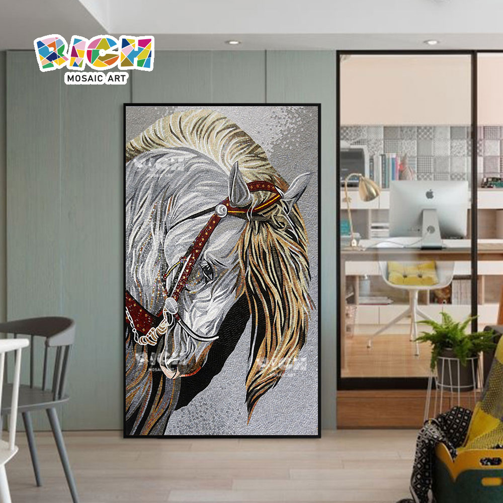 RM-AN50 πολεμικό σχέδιο αλόγων που κόβεται το μωσαϊκό γυαλιού έργο τέχνης για το σπίτι