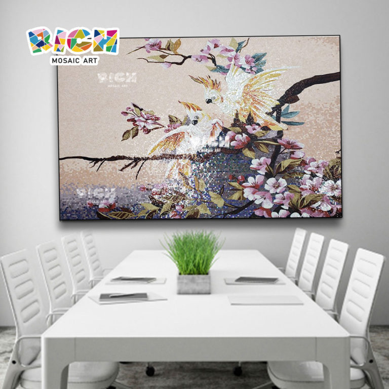 RM-AN51 Dining Room Decorated Parrot Pattern Mosaic Art Painting