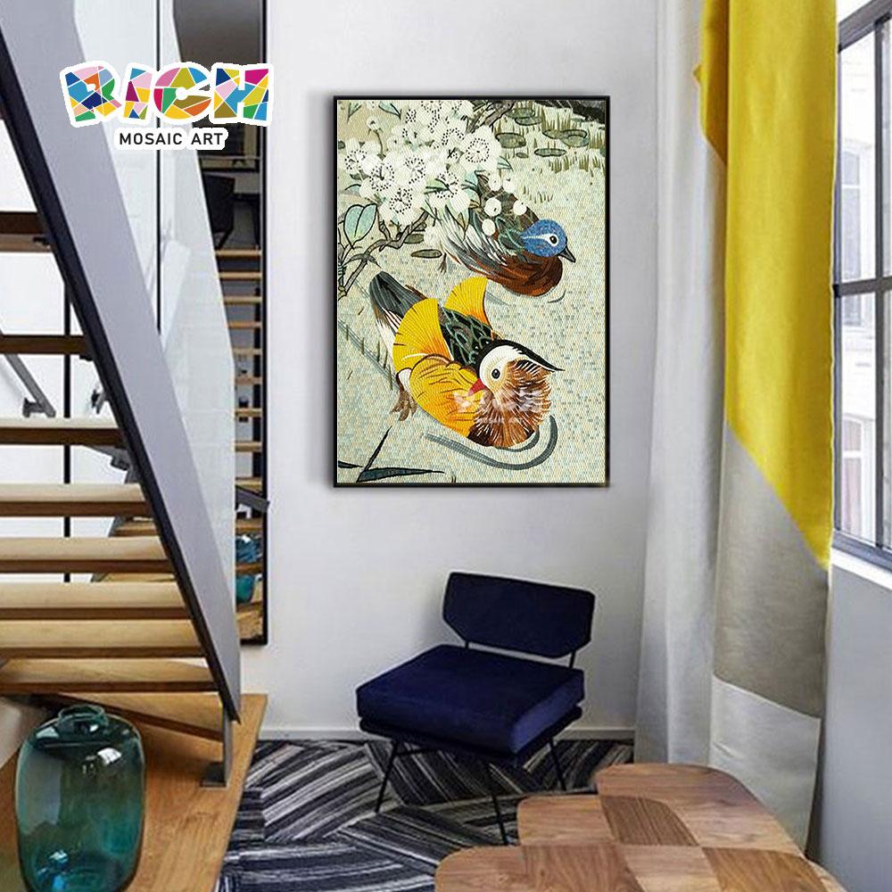 RM-AN52 Cute Mandarin Duck Mosaic Mural For Stairs Wall Decorate
