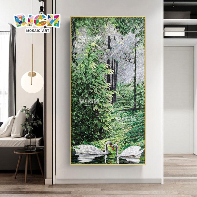 RM-AN53 décoration mosaïque Art Hanging Swan peintures
