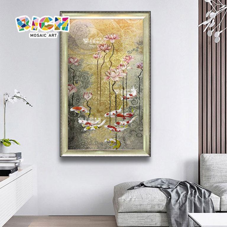 جمهورية مقدونيا-AN54 لوتس بركة السمك تصميم اللوحة الجدارية زجاج غرفة الدراسة